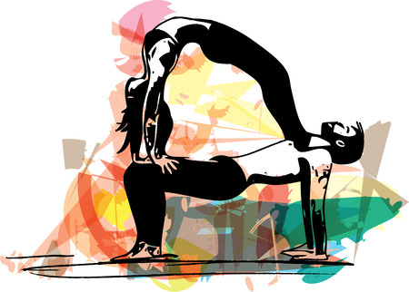 flexible woman: Yoga sketch couple illustration with abstract colorful background Illustration