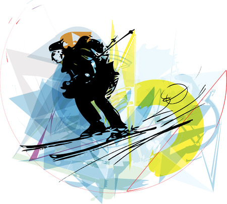 downhill skiing: Illustration of skier skiing downhill on abstract background