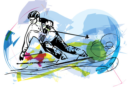 downhill: Illustration of skier skiing downhill on abstract background