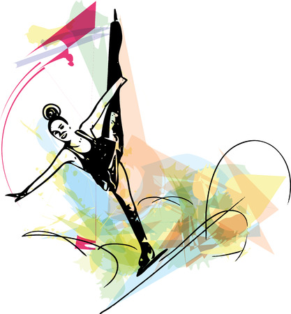 arena: abstract illustration of woman ice skater skating at colorful sports arena