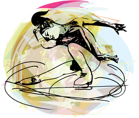 flexible woman: abstract illustration of woman ice skater skating at colorful sports arena