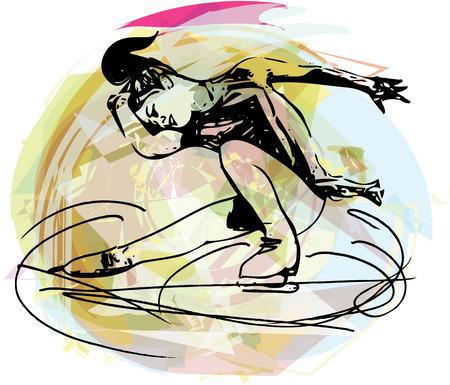 abstrakte Darstellung der Frau ice skater in bunten Sport-Arena