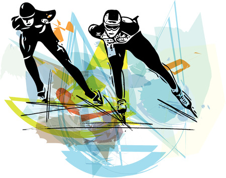 skaters: abstract illustration of speed ice skaters at colorful ice rink
