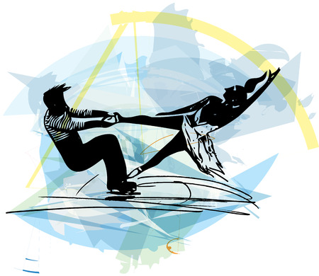 arena: abstract illustration of couple ice skaters skating at colorful sports arena