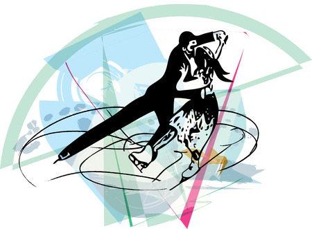 skaters: abstract illustration of couple ice skaters skating at colorful sports arena