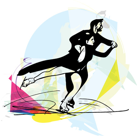 flexible woman: abstract illustration of couple ice skaters skating at colorful sports arena