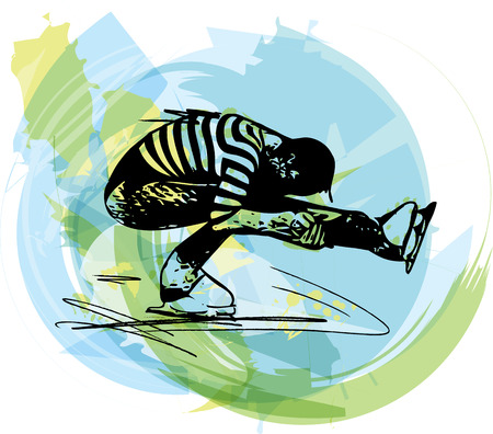 arena: abstract illustration of man ice skater skating  at colorful sports arena