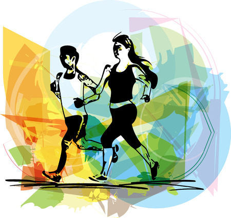 jogging in park: Abstract illustration of young fitness couple of man and woman jogging in park Illustration