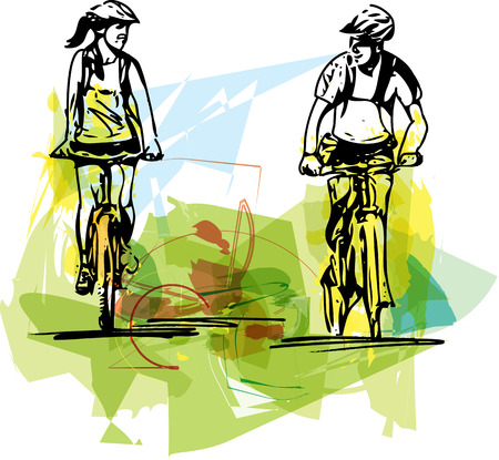 sweethearts: Abstract illustration of a couple taking a ride on a bicicle