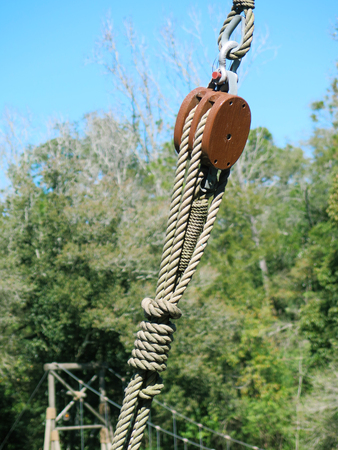 pulley: Pulley and ropes equipment of a wooden ship