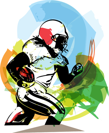 American football player illustration with abstract background