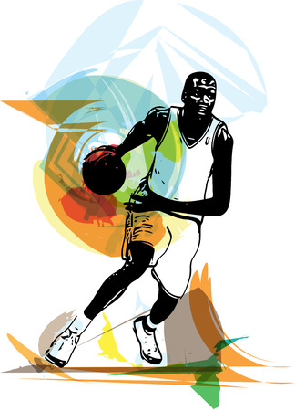 shooting at goal: Sketch of basketball player with abstract background