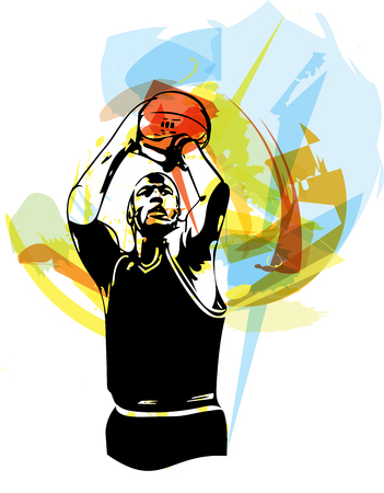offense: Sketch of basketball player with abstract background