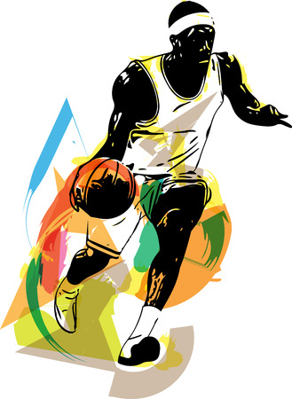 scoring: Sketch of basketball player with abstract background