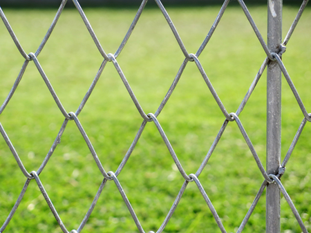 wire fence: wire fence with grass out of focus background