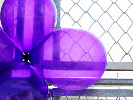 metal grate: Birthday party balloons total purple on metal grate