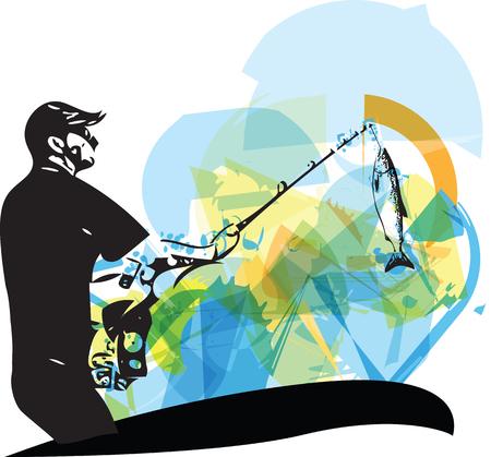 hombre pescando: Ilustraci�n del hombre de la pesca de la embarcaci�n Vectores