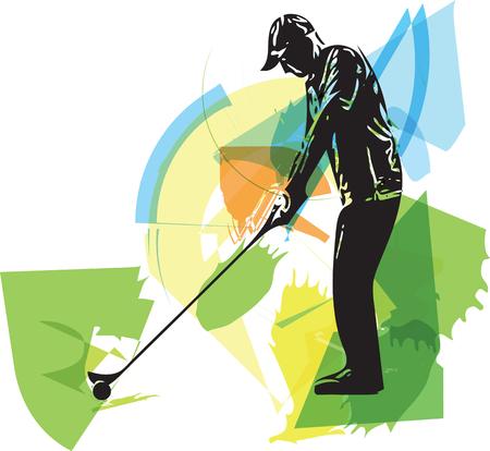 Man playing golf abstract illustration Illustration