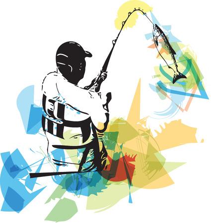 Illustration des Menschen Angeln vom Boot
