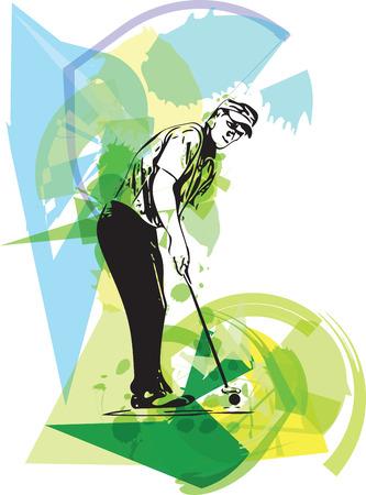 golfball: Man playing golf abstract illustration Illustration