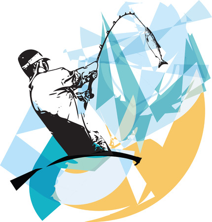 Illustration of man fishing from the boat