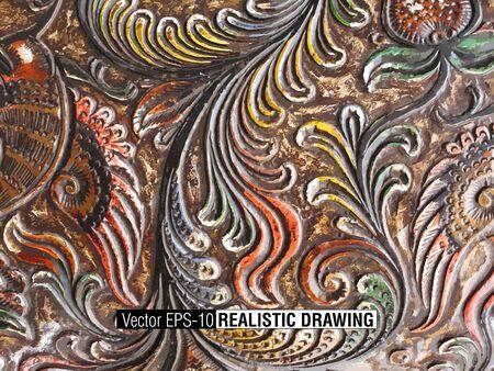 teak: Floral Carved Wood background illustration Illustration