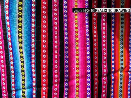 inka: South America Indian woven fabrics colorful background