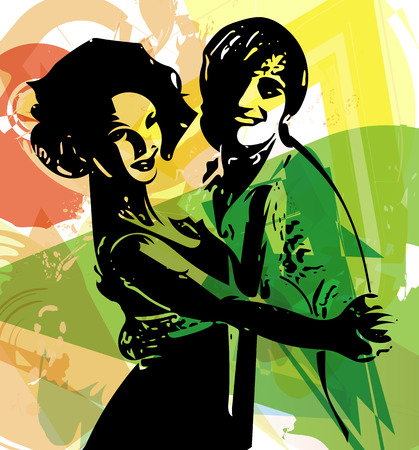 Abstract illustration of Latino Dancing couple Ilustração