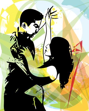 Abstract illustration of Latino Dancing couple  イラスト・ベクター素材