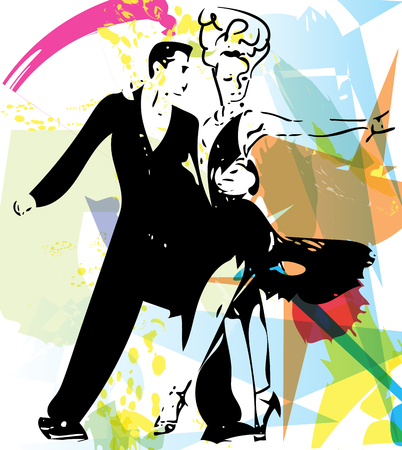 latino: Abstract illustration of Latino Dancing couple Illustration