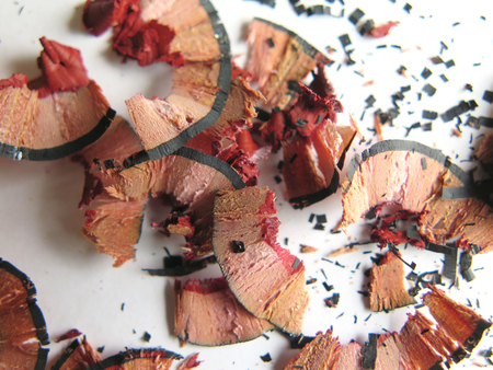sharpen: sharpen colourful colored pencil, wooden dust