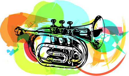 performing: colorful trumpet illustration on abstract background Illustration