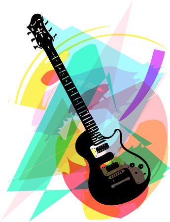 hardrock: colorful electric guitar illustration on abstract background Illustration