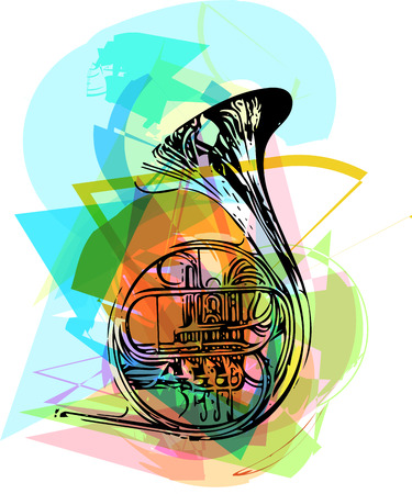 colorful trumpet illustration on abstract background Illustration