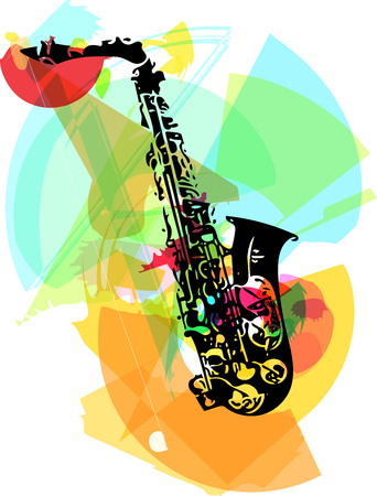 decibels: colorful saxophone illustration on abstract background
