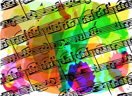 pentagramma musicale: colorato note musicali libro illustrazione su sfondo astratto