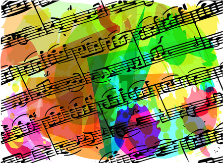 music theory: colorful musical notes book illustration on abstract background