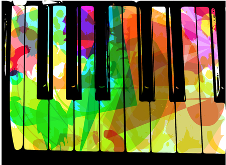 recital: colorful piano illustration on abstract background