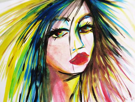 Abstract Aquarell Nahaufnahme der schönen Frau Gesicht Standard-Bild