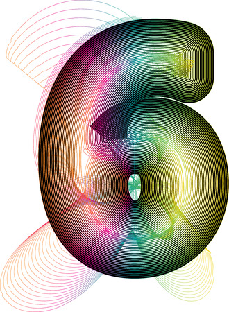 number 6: Abstract Colorful Number 6 Illustration
