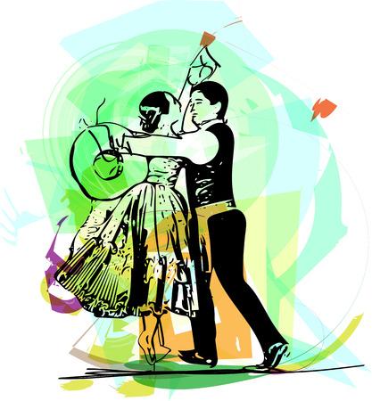 Ilustracja para tańczy Marinera. Peruwiański tańczy.