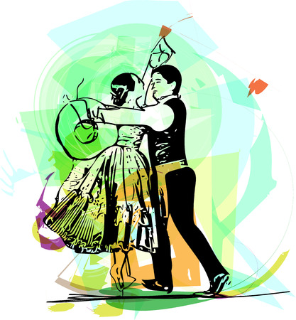 Illustration of Couple dancing marinera. Peruvian dancing.