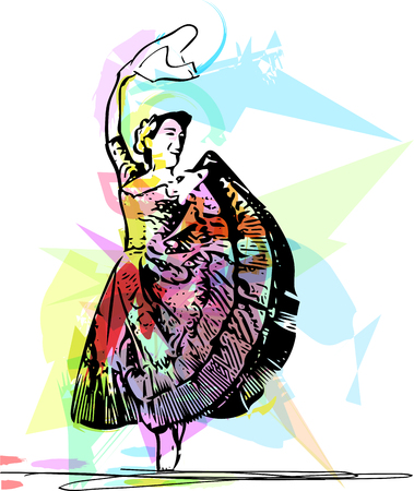 theatrical dance: Illustration of woman dancing marinera. Peruvian dancing. Illustration