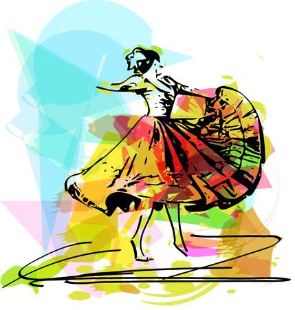 latin american girls: Illustration of woman dancing marinera. Peruvian dancing. Illustration