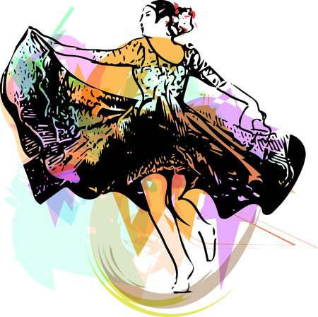 Illustration of woman dancing marinera. Peruvian dancing. Vector Illustration