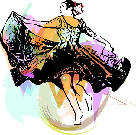 Illustration of woman dancing marinera. Peruvian dancing. Illustration