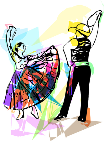 theatrical dance: Illustration of Couple dancing. Vector Illustration Illustration