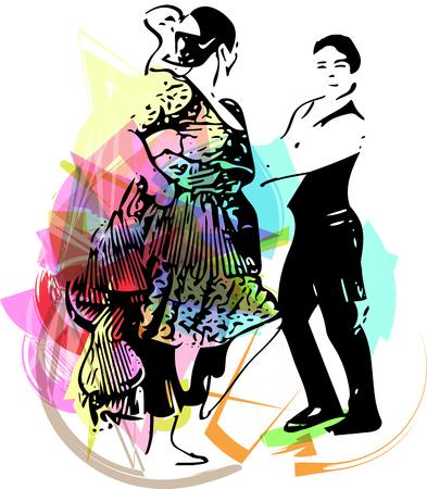 latin american boys: Illustration of Couple dancing. Vector Illustration Illustration