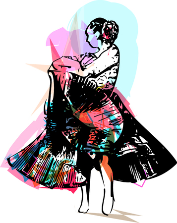 Illustration of woman dancing. Vector Illustration Illustration