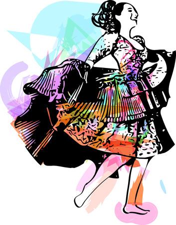 Illustration of woman dancing. Vector Illustration Illustration
